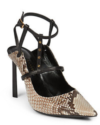 Lanvin Rivet Python Leather Pumps