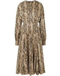 MSGM Snake Effect Faux Leather Midi Dress