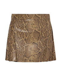 Brown Snake Leather Mini Skirt