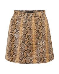 Sprwmn Snake Effect Leather Mini Skirt