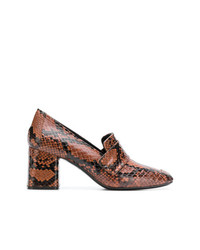 Snakeskin block heel loafers medium 8083221