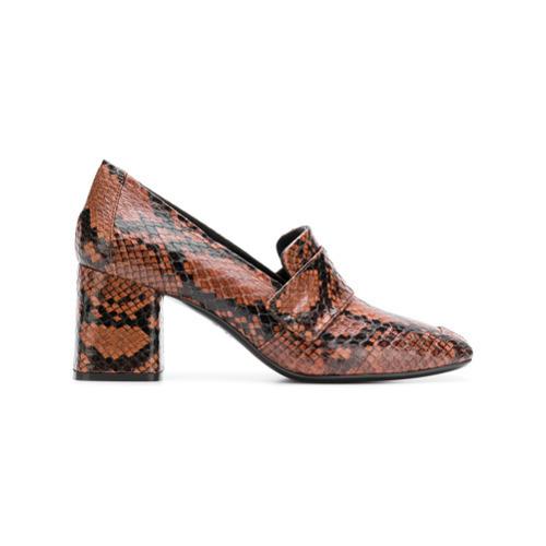 3e220e4129c Casadei Snakeskin Block Heel Loafers, $350 | farfetch.com ...