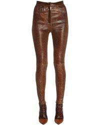 Balmain Skinny Python Printed Leather Pants