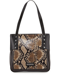 Madan snake print leather tote bag blackbrown medium 325422