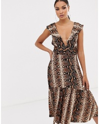 River Island Midi Dress In Snake Print