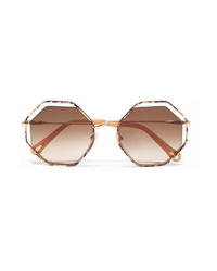 88c96691b196 Chloé Poppy Petite Octagon Frame Snake Effect Acetate And Gold Tone  Sunglasses
