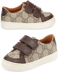 Gucci Brooklyn Leather Trim Canvas Sneaker Toddler