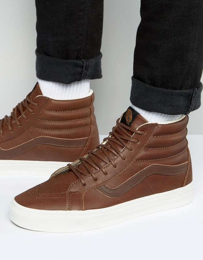 6a12020cb4 ... Vans Sk8 Hi Reissue Sneakers In Brown Va2xsblyw ...