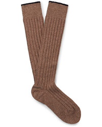 Brunello Cucinelli Mlange Cashmere Over The Calf Socks