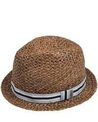 Cov-ver Grosgrain Ribbon Fedora Hat Straw Dark Brown