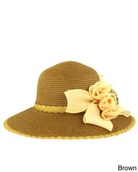 Faddism Stylish Summer Straw Hat With Removable Floral Ornat