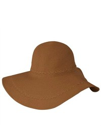 Luxury Lane Brown Wide Brim Straw Floppy Sun Hat With Braided Trims