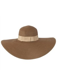 Luxury Lane Brown Wide Brim Straw Floppy Sun Hat With Ribbon Trim