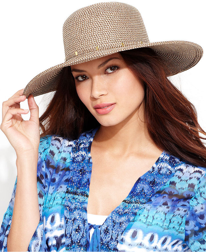 391b8d83976 Packable Floppy Hat. Brown Straw Hat by Nine West