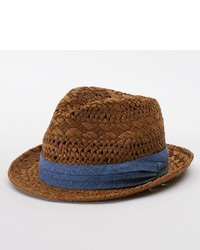 Sonoma Life Style Straw Fedora With Chambray Band
