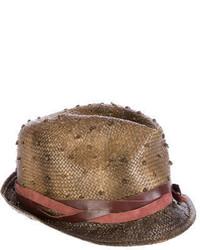 Brunello Cucinelli Straw Fedora Hat