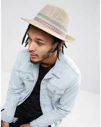 Asos Straw Fedora Hat With Festival Unfinished Band