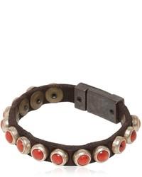 Campomaggi Coral Studded Leather Bracelet