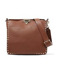 Valentino Garavani The Rockstud Hobo Small Textured Leather Shoulder Bag