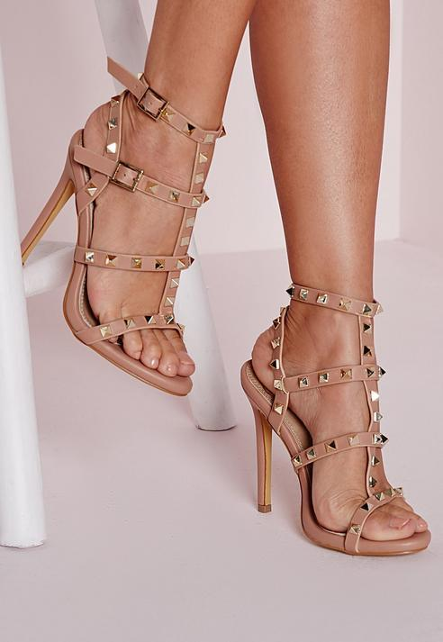 Missguided Studded Heeled Gladiator Sandals Blush | Where to buy ...