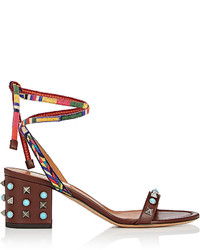 Valentino Rockstud Rolling Leather Ankle Tie Sandals