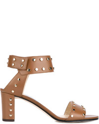 Jimmy Choo Tan Leather Stud Veto 65 Sandals