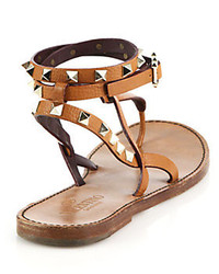 9786dae3ea65 ... Valentino Rockstud Wrap Around Strap Leather Thong Sandals