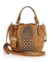 Flower micro studded leather tote medium 523550