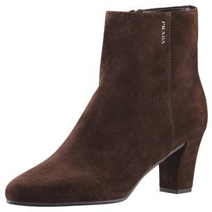 prada mid heel suede ankle boot brown