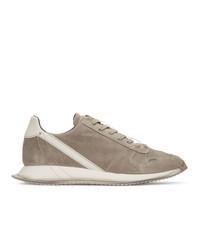 Rick Owens Grey Suede New Vintage Runner Sneakers
