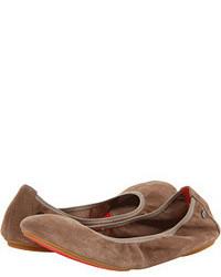 Brown Suede Ballerina Shoes