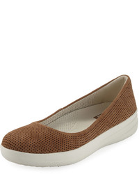 FitFlop Adora Perforated Ballerina Flat Brown