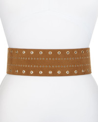 Grommet faux suede stretch belt cognac medium 675593