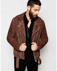 Asos Brand Belted Suede Biker Jacket In Brown
