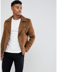 ASOS DESIGN Faux Suede Biker Jacket In Tan