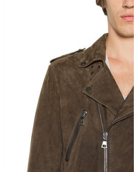 John Varvatos Lightweight Suede Long Biker Jacket | Where to buy ...