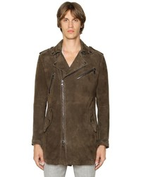 John Varvatos Lightweight Suede Long Biker Jacket