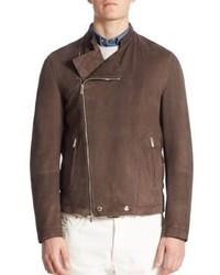 Brunello Cucinelli Suede Asymmetrical Zip Moto Jacket