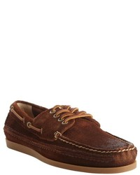 Frye Brown Suede Leather Slip On Boat Shoe Loafers