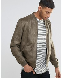 Asos Brand Faux Suede Bomber Jacket In Khaki