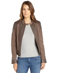 Cole Haan Grey And Brown Lambskin Leather And Suede Jacket