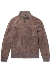 Bottega Veneta Slim Fit Intrecciato Trimmed Suede Bomber Jacket