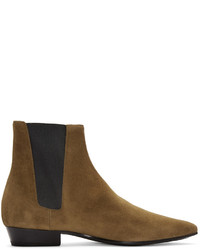 Saint Laurent Tan Suede Devon Boots