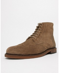 WALK LONDON Darcy Brogue Boots In Taupe Suede