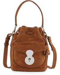 Ralph Lauren Ricky Small Suede Bucket Bag Caramel