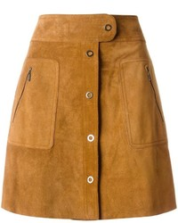 Brown Suede Button Skirt