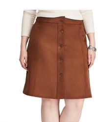Chaps Plus Size Faux Suede A Line Skirt