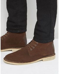 Asos Desert Boots In Brown Suede With Leather Detail