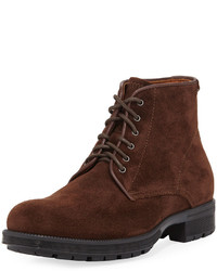 Aquatalia Harvey Waxy Suede Lace Up Boot Brown
