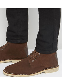 Asos Wide Fit Desert Boots In Brown Suede With Leather Detail